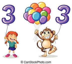 balloon, tre, abe, pige, antal