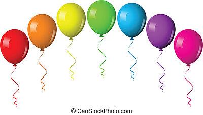balloon, vektor, bue, illustration