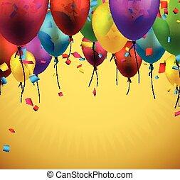balloons., baggrund, fejre