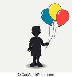 balloons., silhuet, dreng