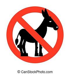 ban, fool., silhuet, crossed-out, donkey., emblem, forbuddet, tegn, prohibited, rød, folk., imod, dum, holde inde, stupidity.