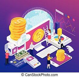 bankvirksomhed, isometric, komposition, online