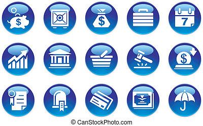 bankvirksomhed, sæt, og, ikoner branche
