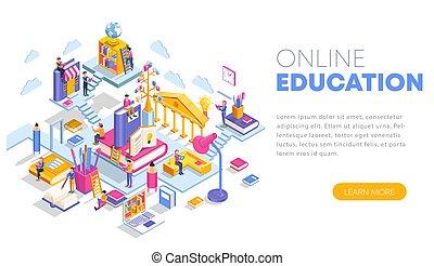 banner, lectures., landgangen, education., væv side, anvendelse, tutorials, dåse, vektor, moderne, specialisering, infographics, isometric, lejlighed, kurser, konstruktion, template., begreb, oplæring, illustration, website., online