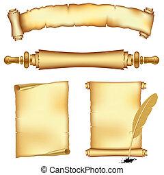 bannere, scroll, papirer