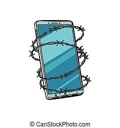 barbed tråd, telephone., isoleret, baggrund, hvid
