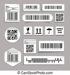 barcode, vektor, sæt, mærkaten, etikette