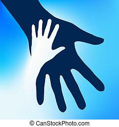 barn, hænder, hjælper