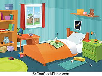 barnet, noget, soveværelse
