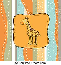 barnlige, giraf, hilsen card