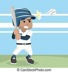 baseball, finder, bold, afrikansk, spiller
