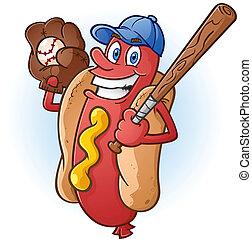 baseball, hede, karakter, hund, cartoon