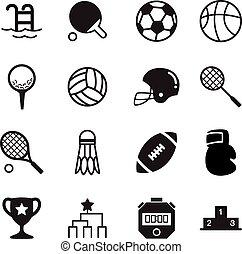 basics, silhuet, iconerne, symbol, sport, vektor