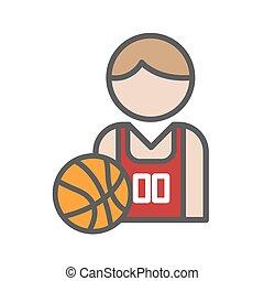basketball spiller, avatar, baggrund, hvid, ikon