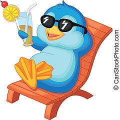 bea, cute, siddende, pingvin, cartoon