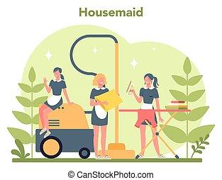 beboelseslejligheden, klassisk, tjenestepige, rensning, tjeneste, cleaning., kvinde