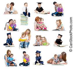 begreb, book., eller, tidligere, børn, samling, babyer, childhood., undervisning, læsning