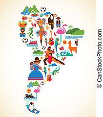begreb, constitutions, iconerne, -, illustration, vektor, amerika, syd