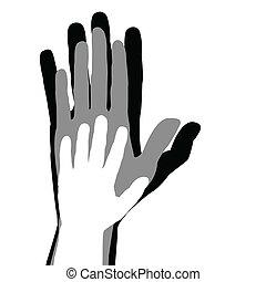 begreb, familie, hænder, far, barn, mor