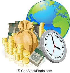 begreb, firma, penge, klode, tid, verden