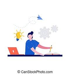 begreb, firmanavnet, illustration., laptop, home., book., online lærdom, tutorials, væv, education., student, afstand, kigge, kvindelig, kurser, e-learning, skrift, moderne, lejlighed