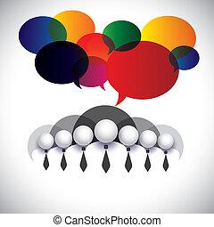 begreb, folk, medlemmer, ledelse, og, medier, -, kommunikation, også, planke, vector., hvid, show, netværk, selskab, grafik, konference, krave, vekselvirkning, ansatter, sociale, korporativ virksomhedsleder