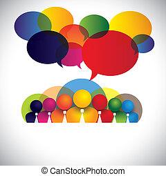 begreb, folk, miscellaneous, medlemmer, racemæssige, stab, ledelse, og, medier, -, også, planke, vector., hvid, show, netværk, farverig, selskab, ansatter, konference, krave, multi, grafik, sociale, virksomhedsledere