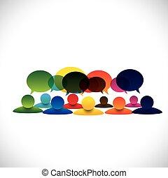 begreb, gruppe, folk tales, vektor, ansatte, diskussioner, eller