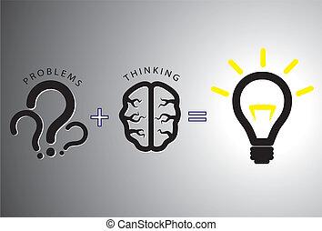 begreb, løser, -, løsning, det, hjerne, bruge, problem