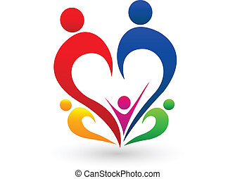 begreb, logo, vektor, familie