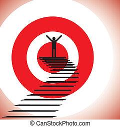 begreb, mål, held, og, nå, challenge., illustration, gevinst, person, grafik, detemined, tillidsfuld, show, achieving, target