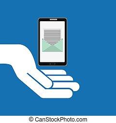 begreb, meddelelse, smartphone, email, ikon