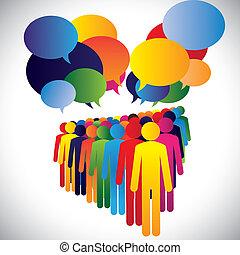begreb, og, kommunikation, selskab, -, vektor, vekselvirkning, ansatter