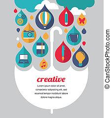 begreb, paraply, -, ide, kreative, konstruktion
