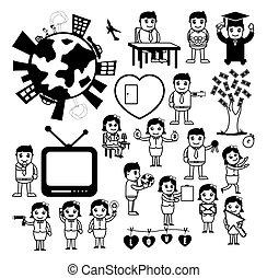 begreb, sæt, affattelseen, cartoon