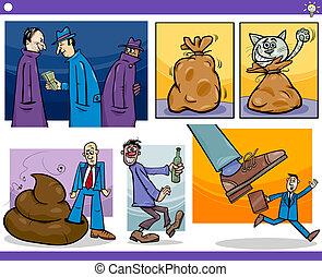 begreb, sæt, ideer, cartoon