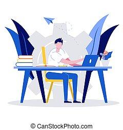 begreb, skrivebord, firmanavnet, illustration., home., online lærdom, tutorials, væv, education., siddende, student, mandlig, afstand, kigge, kurser, e-learning, moderne, lejlighed, laptop.
