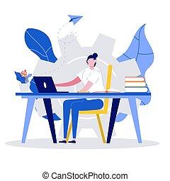 begreb, skrivebord, firmanavnet, illustration., home., online lærdom, tutorials, væv, education., siddende, student, afstand, kigge, kvindelig, kurser, e-learning, moderne, lejlighed, laptop.