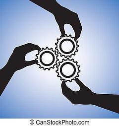 begreb, success., held, folk, samarbejde, hold, co-operating, illustration, det medtar, silhuetter, grafik, teamwork, sammen, hånd ind hånd, hånd, cogwheels, angi, sammenvokse