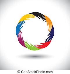 begreb, symbols(icons), graphic-, hånd, vektor, menneske, cirkel, vær, eller