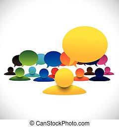 begreb, tales, og, empl, driftsleder, vektor, medlemmer, møde, leder