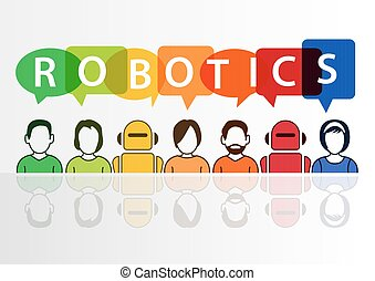 begreb, tekst, robotics, robotter, baggrund, hvid