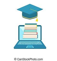 begreb, undervisning, illustration., afstand, skole, avatars., books., lejlighed, vektor, e-learning, laptop