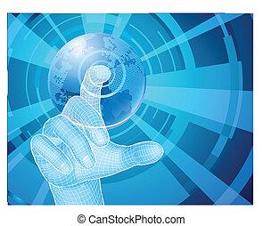 begreb, vælger, klode, hånd, baggrund, verden