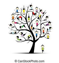 begreb, yoga, fremgangsmåde, træ, konstruktion, din