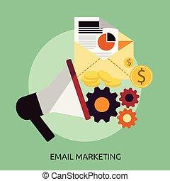 begrebsmæssig, markedsføring, konstruktion, email, illustration