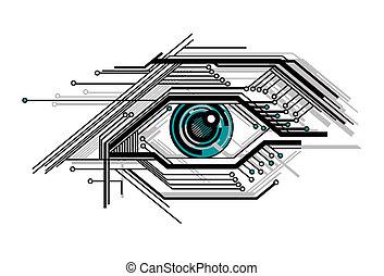 begrebsmæssig, stylized, teknologisk., øje