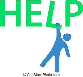 behøve, information, hænge, hjælp, mand