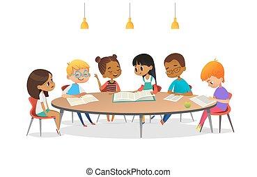behandle, bøger, tales, hver, skole, vektor, advertisement., omkring, børn, omkring, illustration, tabel, siddende, anden, cartoon, library., piger, banner, dem., plakat, indstudering, drenge, læsning
