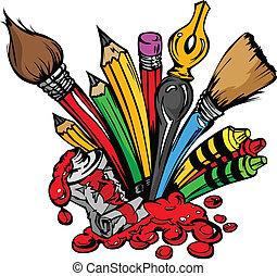 beholdningerne, vektor, kunst, cartoon